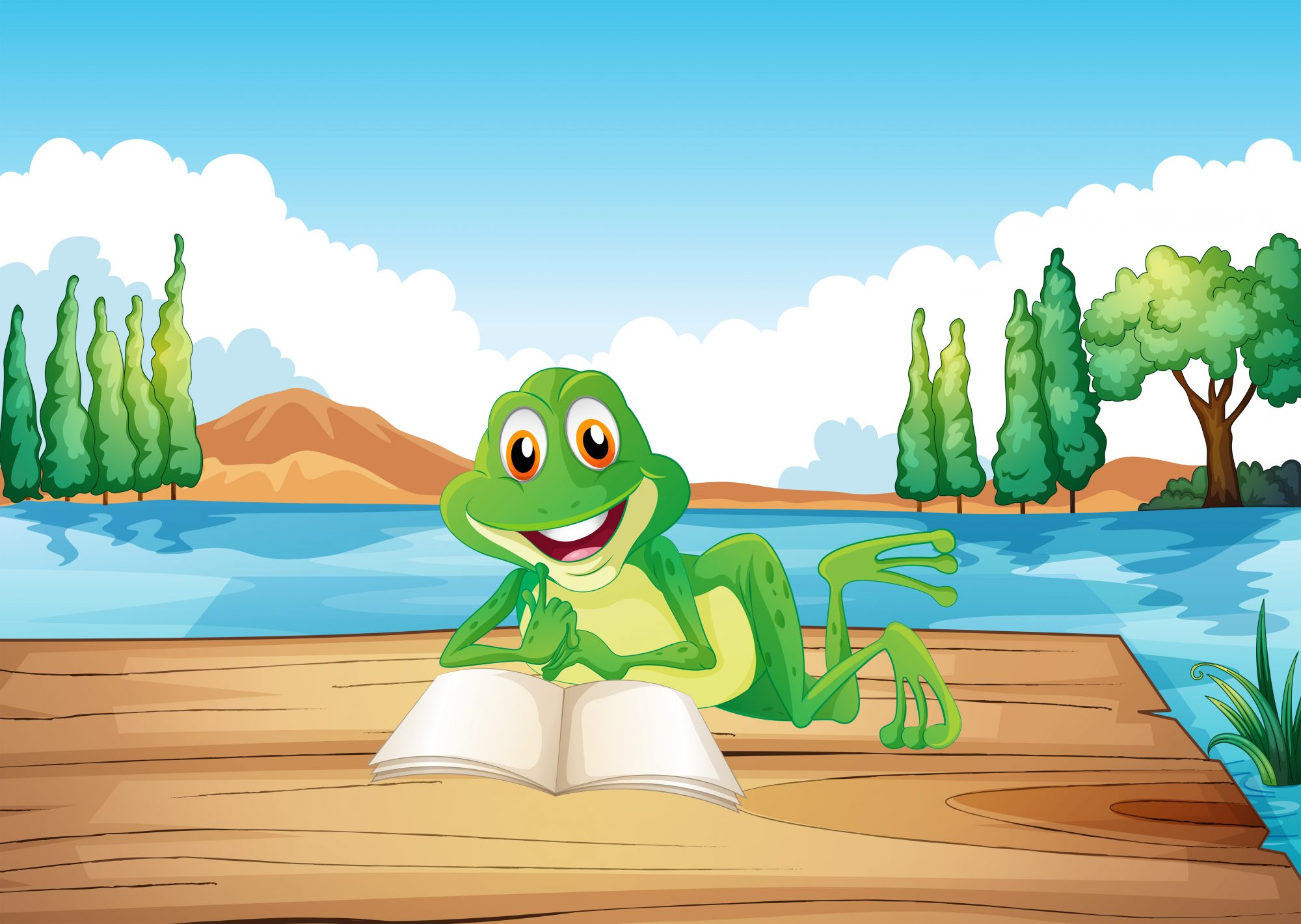 A frog reading a book at the wooden diving board