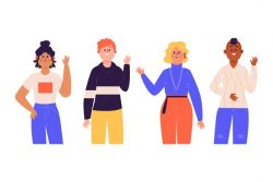 Artistic illustration with people waving hand