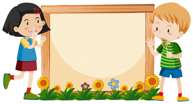 Banner template design with boy and girl in garden