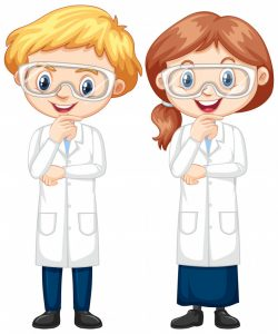 Boy and girl in science gown