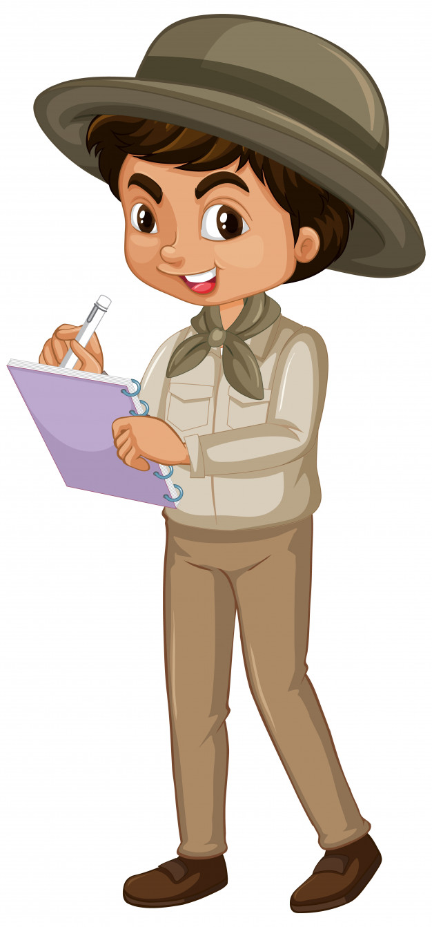 Boy in safari outfit on white