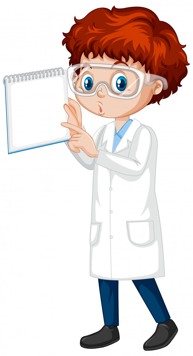 Boy in science gown with notebook on white
