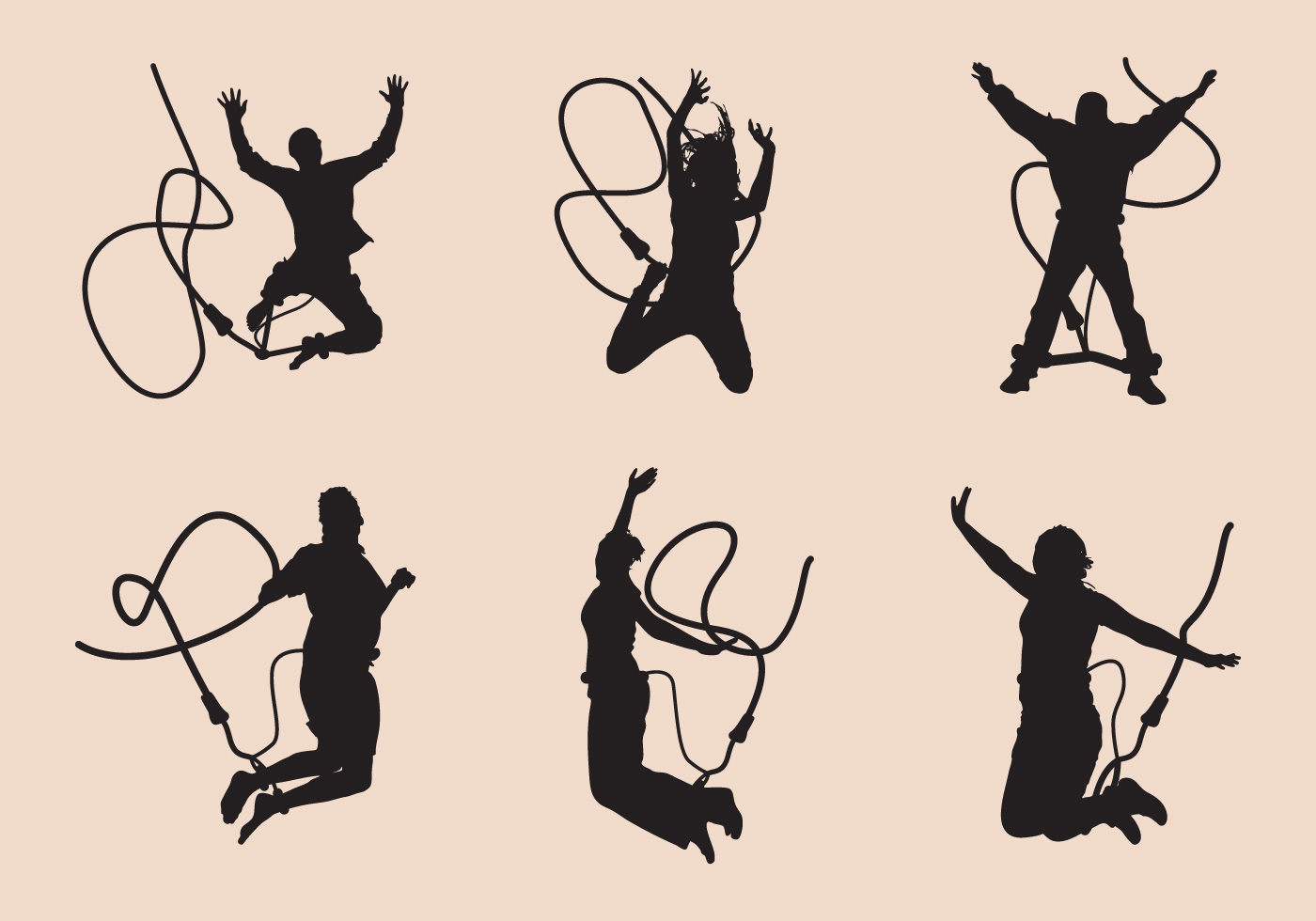 Bungee Jumping Silhouette Set