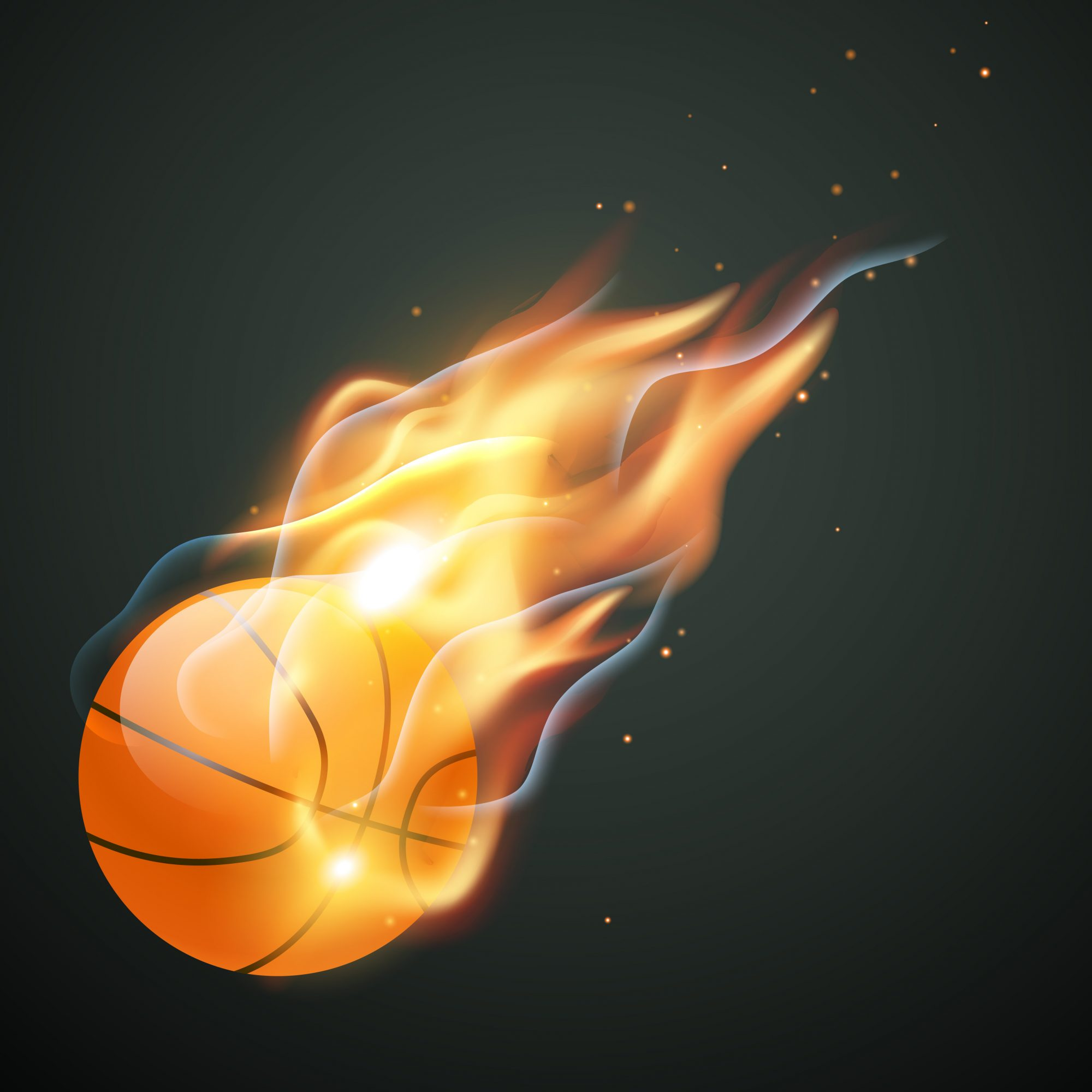 burning basketball illustration