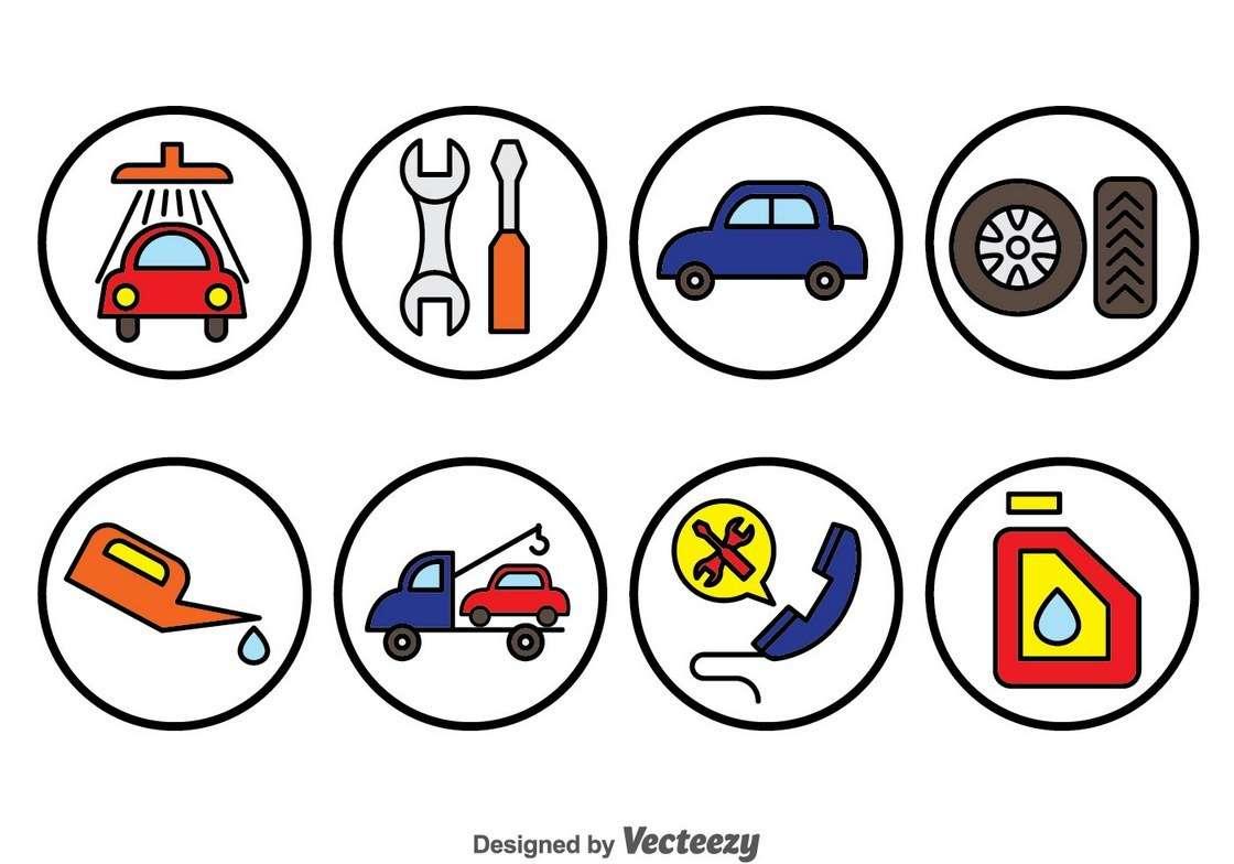 Car Repair Circle Icons