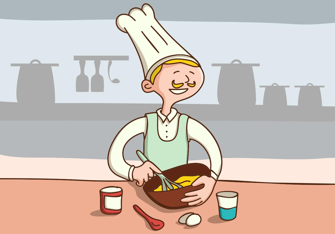 Chef Make Cake On The Kitchen