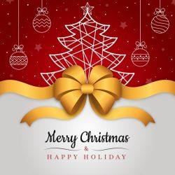 Christmas ribbon background with greeting