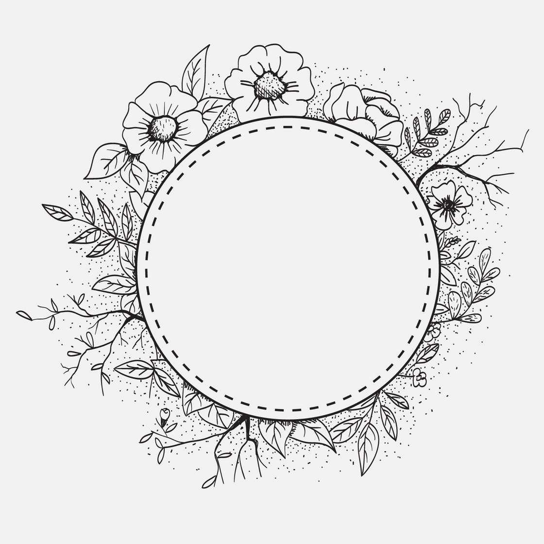 Circular frame with flower