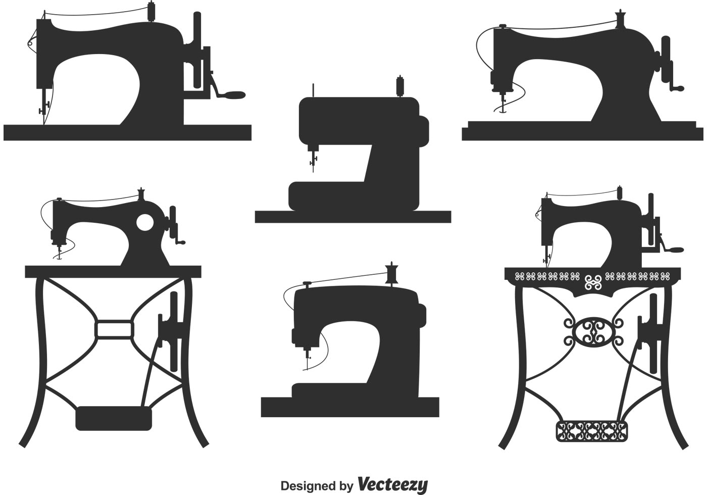 Collection of Vintage Sewing Machine Vectors