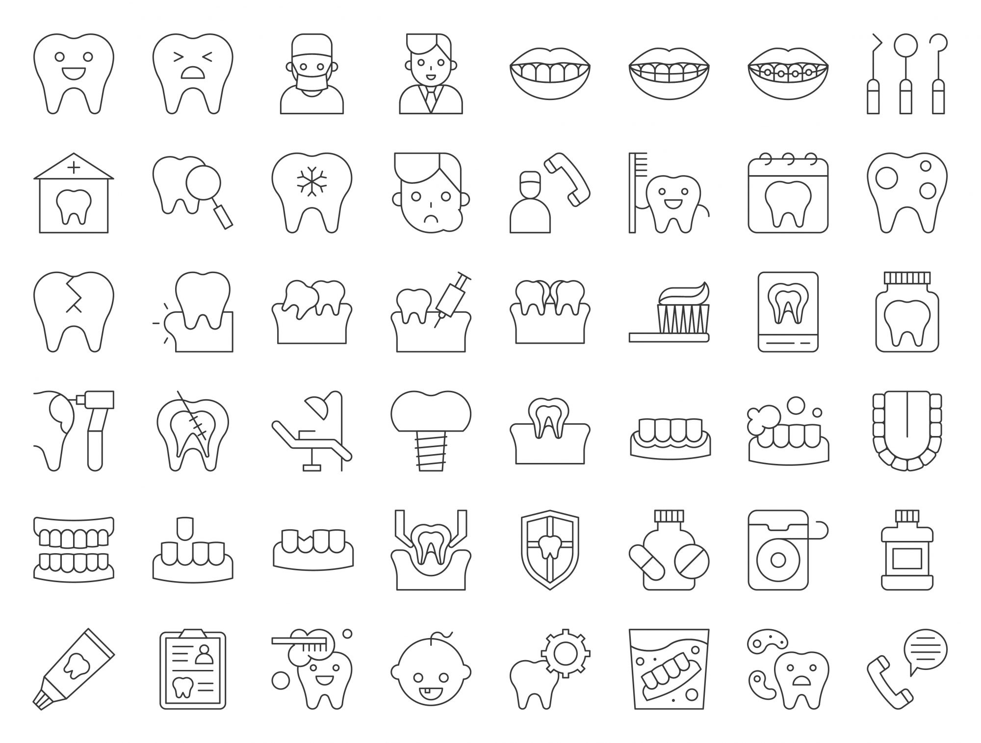 dentist and dental clinic related icon