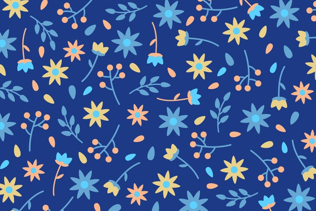 Ditsy flowers and leaves print background