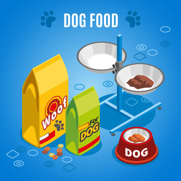 Dog food isometric composition