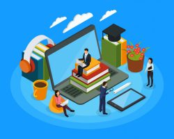 E-learning characters isometric composition