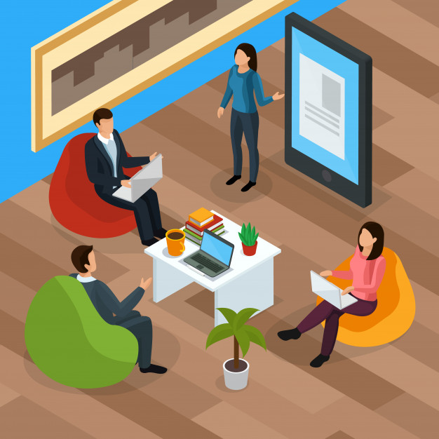 E-learning characters isometric landing page