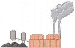Factory building with smoke