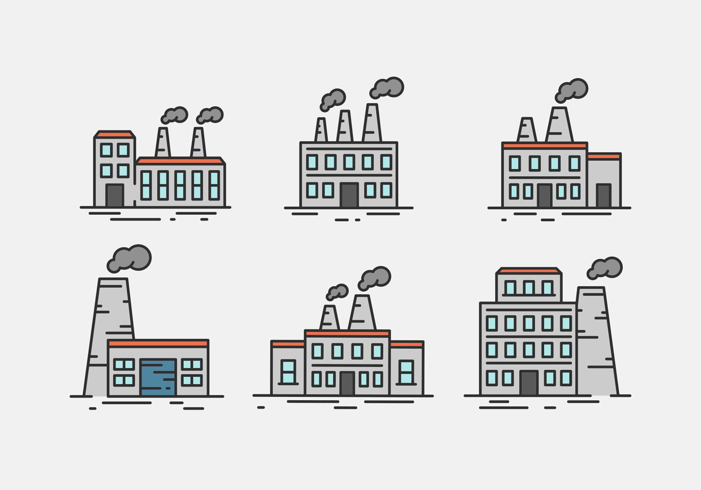 Factory Vector Illustrations In Outline Style