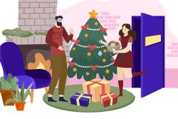 Family beautiful christmas scene indoors