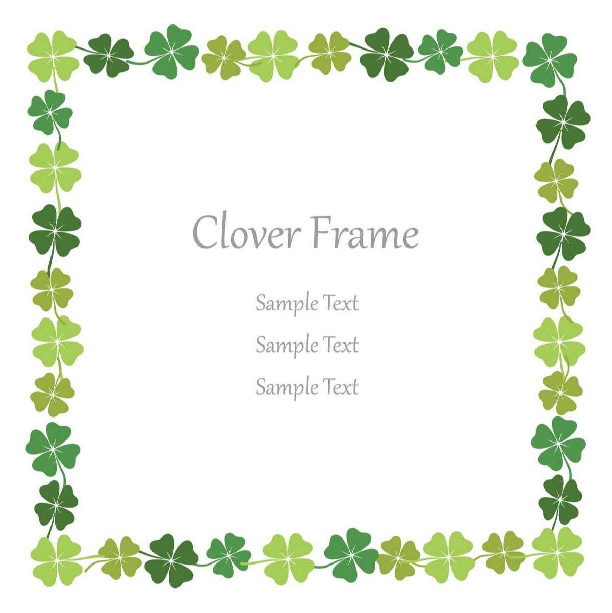 Four-leaf clover square frame