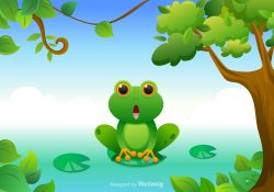 Free Cartoon Green Tree Frog Vector