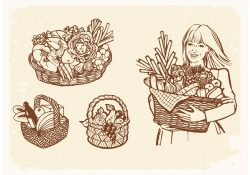 Drawn Old Baskets With Food