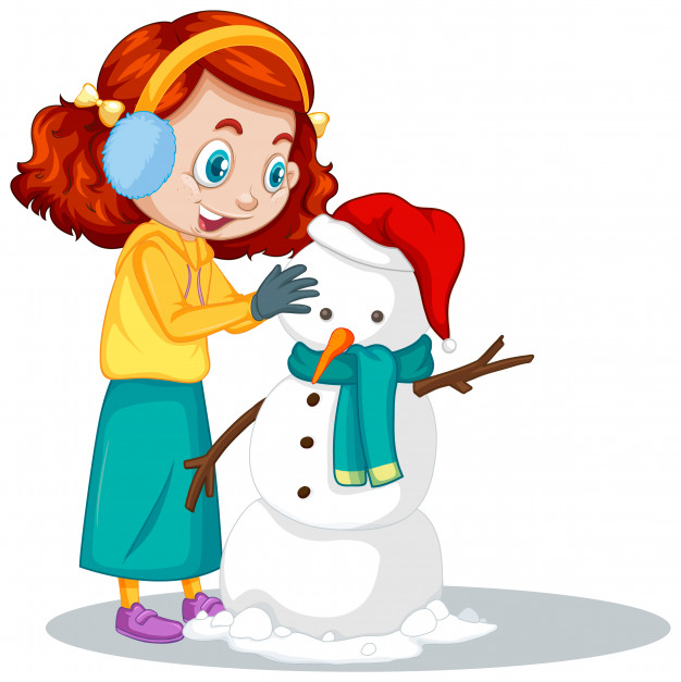 Girl making snowman on white