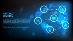 Hi-tech concept world map