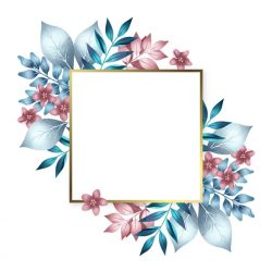 Golden frame with colorful winter flowers