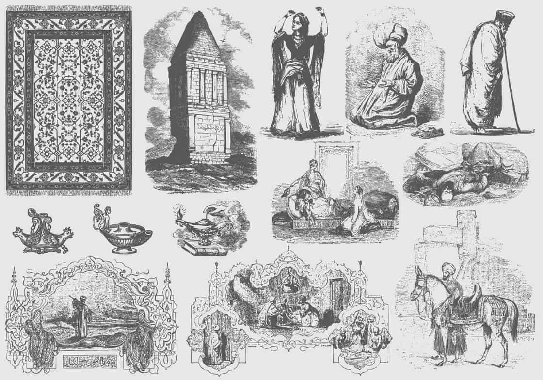 Gray Arabian Illustrations