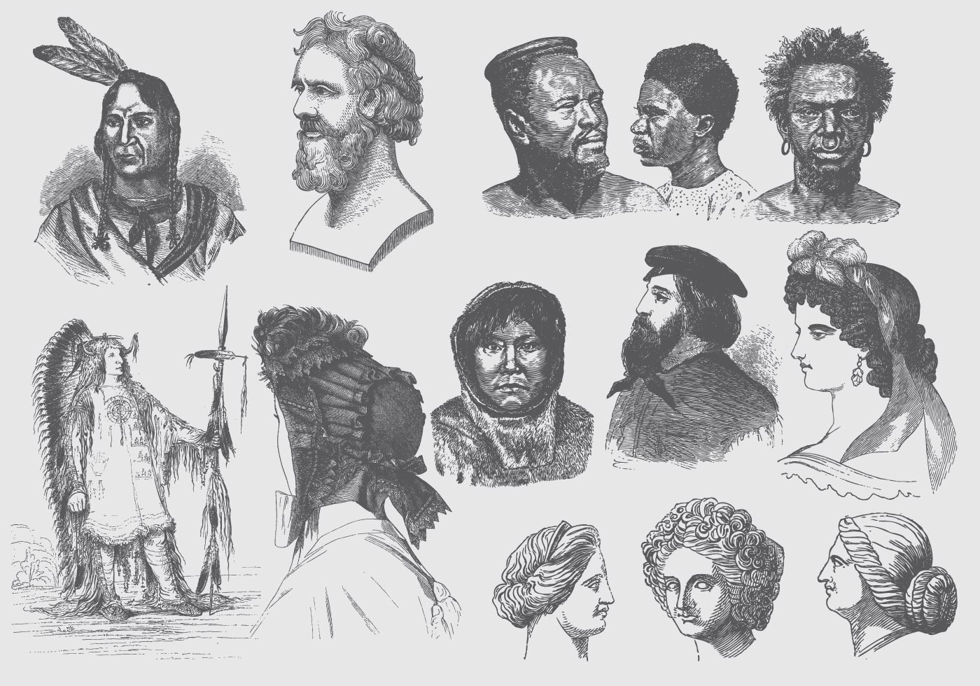 Gray Hairstyles And Headdress Illustrations