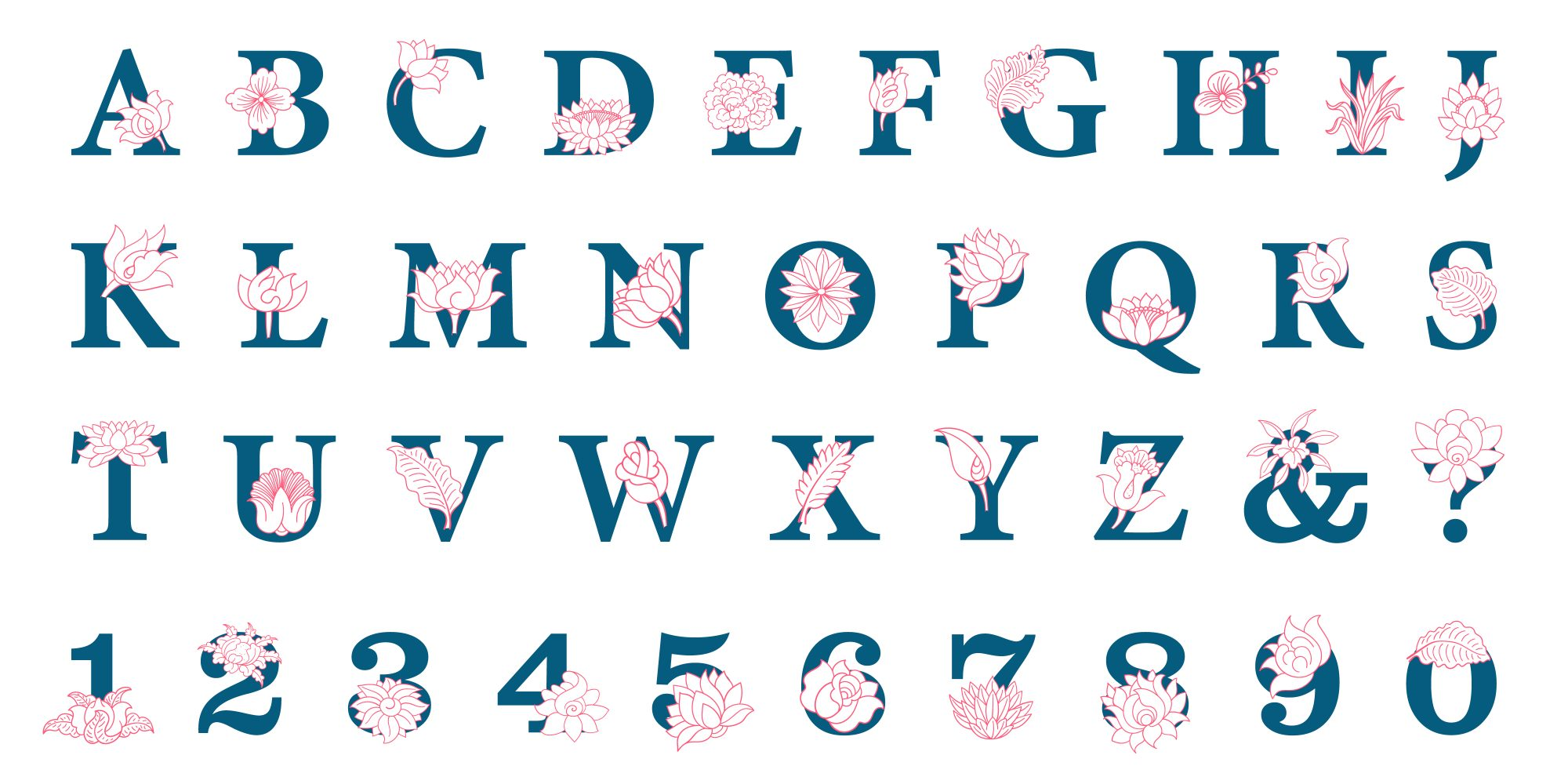 Hand drawn elegant alphabet with flowers