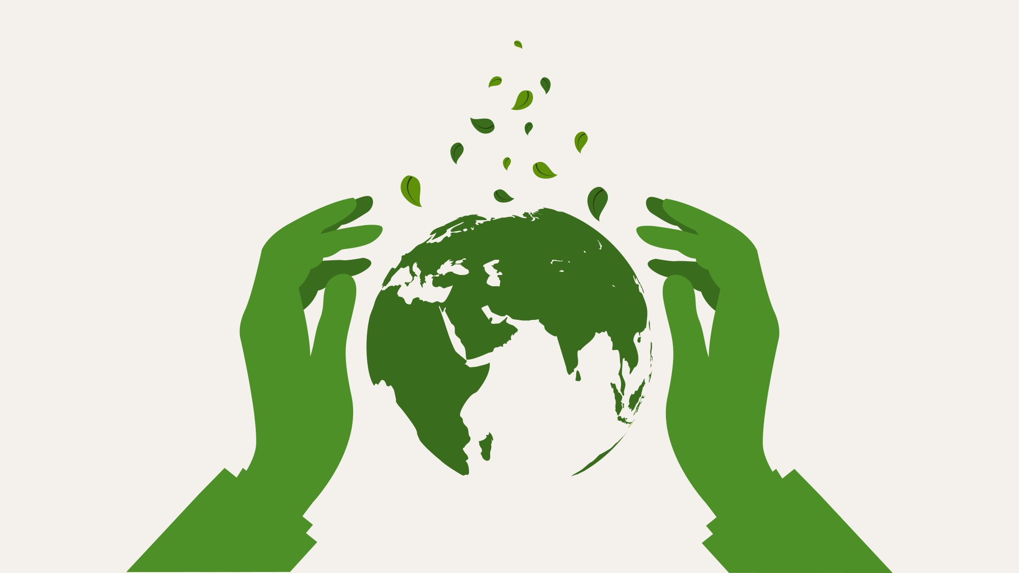 Hands protect green earth globe