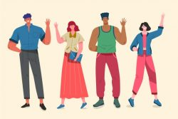 Illustration concept with people waving hand