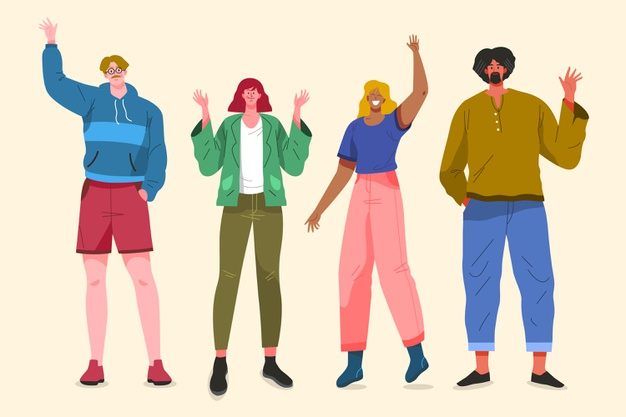 Illustration design with people waving hand