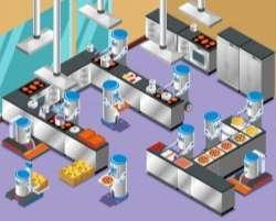 isometric robotic restaurant composition