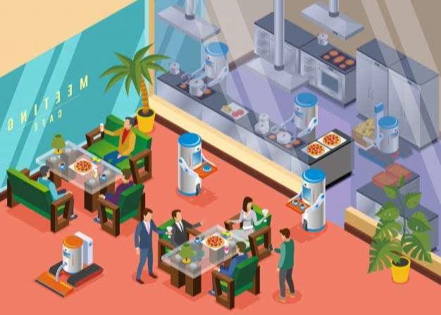 Isometric robotic restaurant