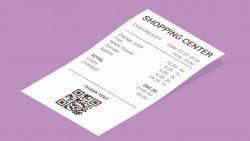 Isometric shop receipt, paper payment bill