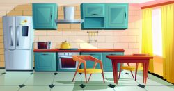 Kitchen interior witn wooden furniture cartoon