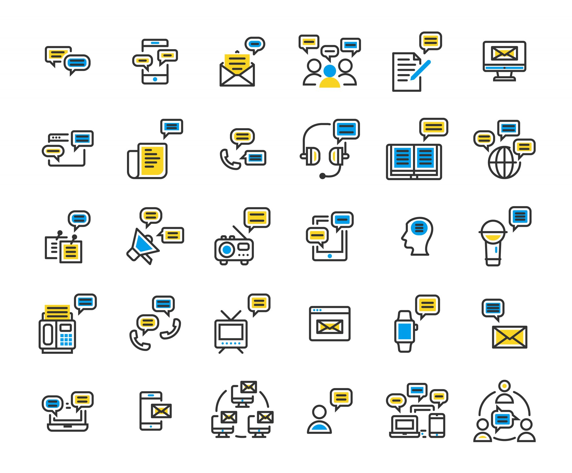 Message filled outline icon set