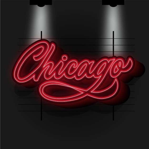 Modern chicago city lettering