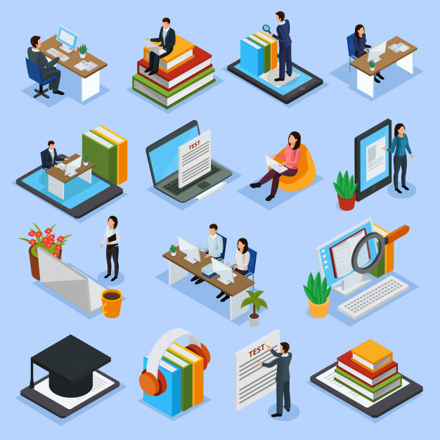 Online education isometric icons