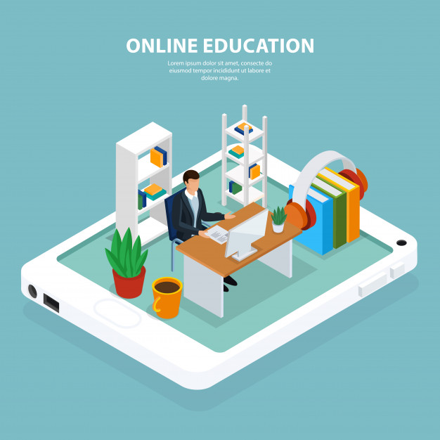 Online education isometric illustration