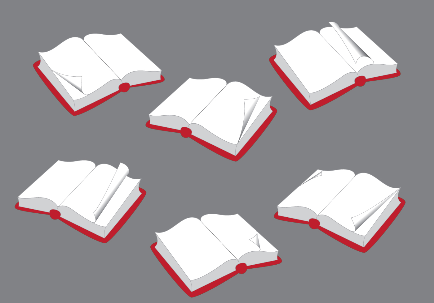 Opened Books with Flipped Page