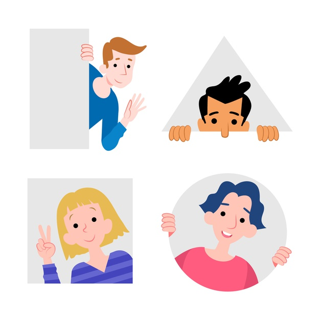 Peeping people collection geometric style | Free Vector