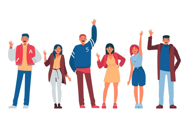 People waving hand illustration concept