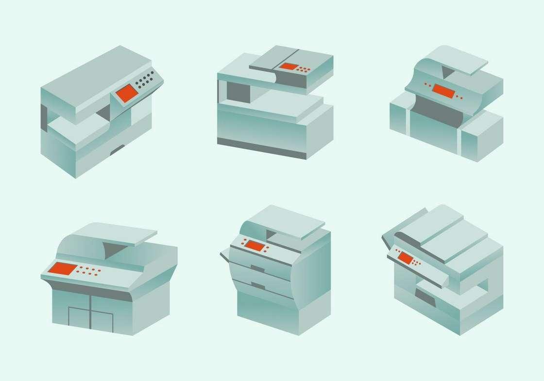 Photocopier modern photocopy machine flat design