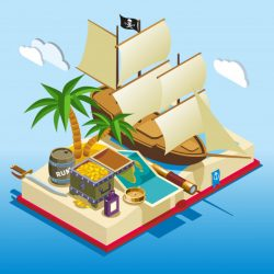 Pirate elements isometric game composition