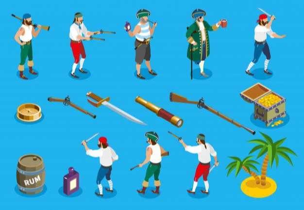Pirates isometric icons