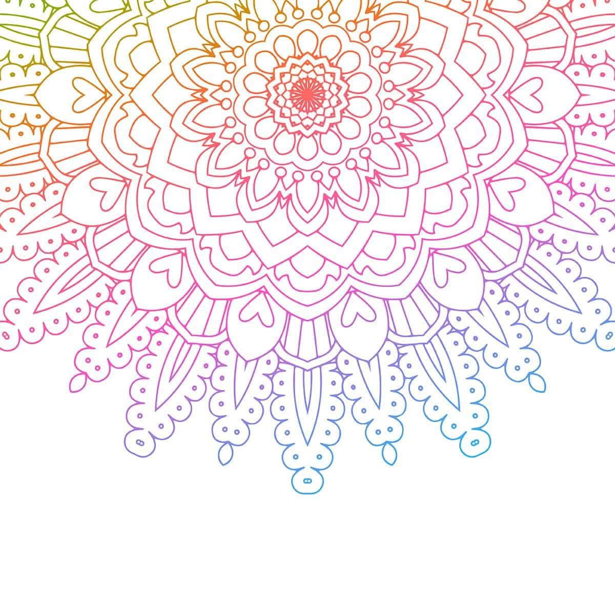 Rainbow coloured mandala background