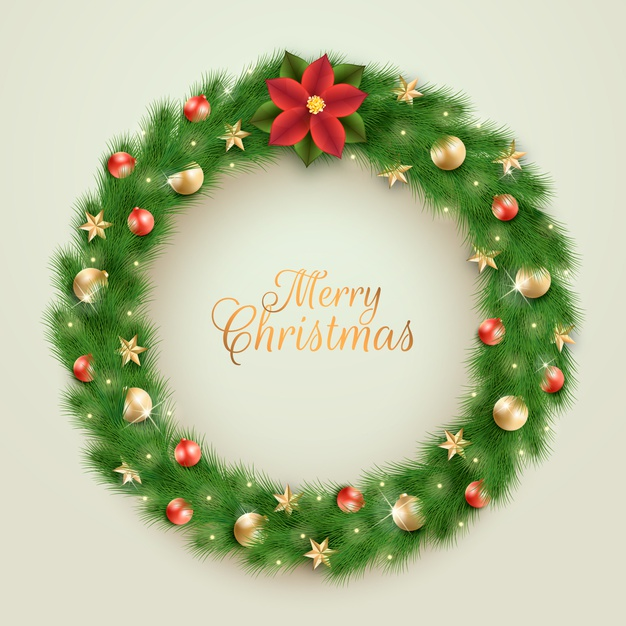 Realistic christmas wreath with greeting