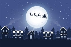 Santa and sleigh with reindeer in the night